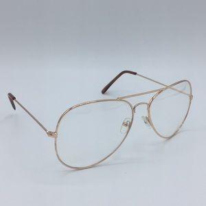 Accessories - Rose gold tone clear aviator glasses